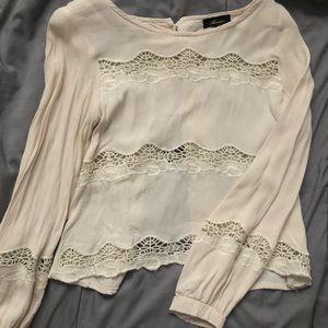 Cream Crotchet Pattern Blouse